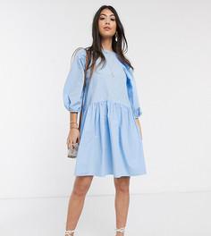 Голубое свободное oversized-платье из поплина Vero Moda Petite-Синий