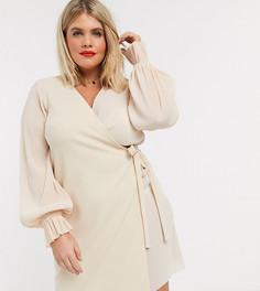 Бледно-розовое платье мини с запахом и плиссировкой ASOS DESIGN Curve-Розовый