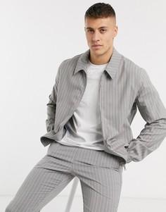 Серая полосатая куртка Харрингтон в полоску ASOS DESIGN-Серый