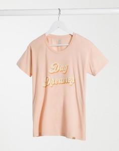 Розовая футболка с надписью Blend She-Розовый