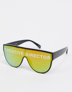 Солнцезащитные очки-маска в черной оправе с зеркальными стеклами и надписью ASOS DESIGN-Черный