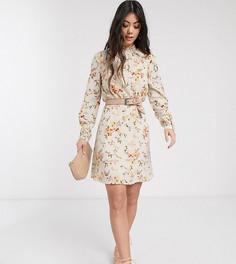Кремовое платье мини с высоким воротником и цветочным принтом Vero Moda Petite-Кремовый