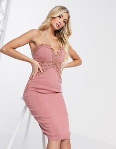 Розовое облегающее платье Rare London-Розовый