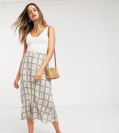Кремовая юбка макси в клетку с цветочным принтом Y.A.S Tall-Мульти