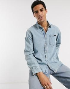 Светлая джинсовая рубашка с одним карманом Nudie Jeans Co-Синий