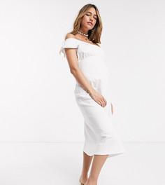 Белый сарафан миди с открытыми плечами ASOS DESIGN Maternity