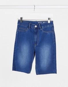 Синие джинсовые шорты с необработанными краями Noisy May-Синий