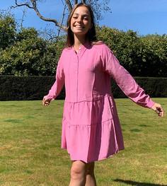 Свободное розовое платье мини с ярусной юбкой Vero Moda Petite-Розовый
