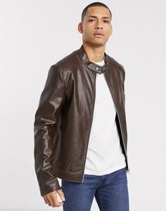 Коричневая куртка из искусственной кожи ASOS DESIGN-Коричневый