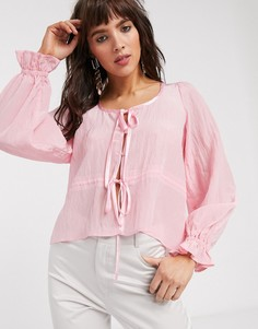 Блузка с завязкой Lost Ink-Розовый