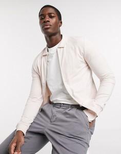 Розовая обтягивающая трикотажная куртка Харрингтон ASOS DESIGN-Розовый