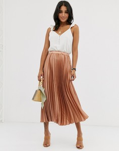 Плиссированная атласная юбка миди карамельного цвета ASOS DESIGN-Бежевый