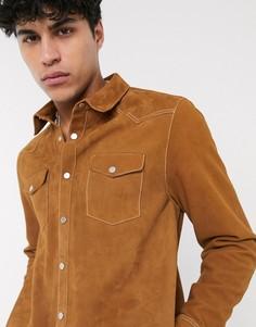Светло-коричневая кожаная рубашка навыпуск в ковбойском стиле ASOS DESIGN-Светло-коричневый