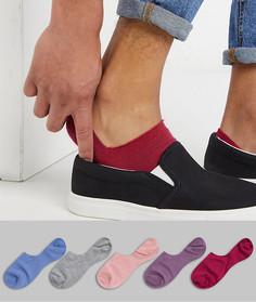 5 пар невидимых носков (синие/розовые/серые) ASOS DESIGN-Мульти