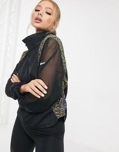 Черная куртка с принтом на вставках Nike Running-Черный