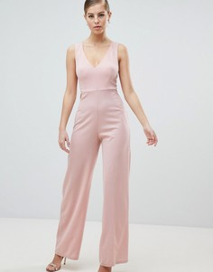 Комбинезон с V-образным вырезом AX Paris-Розовый