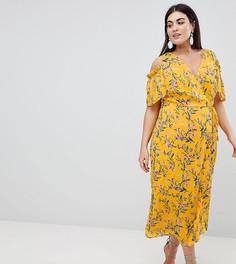 Платье миди с ярким цветочным принтом Lovedrobe-Мульти