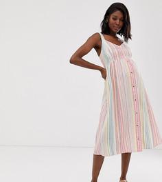 Льняное платье миди в полоску New Look Maternity-Белый