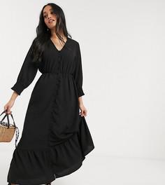 Черное платье макси на пуговицах со сборками и оборкой по нижнему краю Vero Moda Petite-Коричневый