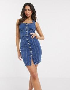 Синее джинсовое платье мини на пуговицах Parisian-Синий