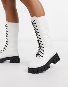 Белые высокие ботинки из искусственной кожи на шнуровке Koi Footwear-Белый