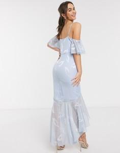 Голубое жаккардовое платье мидакси с годе Little Mistress-Синий