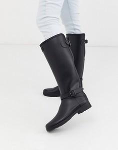 Черные резиновые сапоги с ремешками Hunter Original Refined Tall-Черный