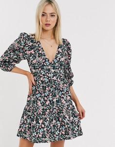 Хлопковое ярусное платье мини с запахом и цветочным принтом ASOS DESIGN-Мульти