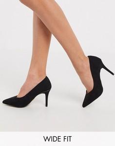 Черные туфли-лодочки для широкой стопы на среднем каблуке Lipsy-Черный