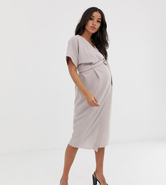 Платье миди с запахом ASOS DESIGN Maternity-Серый
