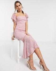 Розовое кружевное платье макси с годе Little Mistress-Розовый