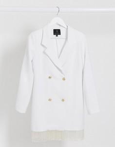 Белое платье-пиджак с бахромой по краю Rare-Белый
