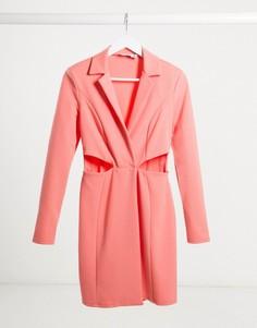 Коралловое платье-смокинг мини с запахом и вырезами Flounce London-Розовый