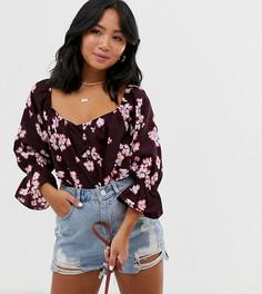 Блузка в стиле бохо с пуговицами и цветочным принтом Vero Moda Petite-Мульти
