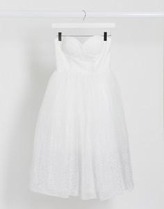 Белое платье миди бандо с тюлевой юбкой Rare London-Белый