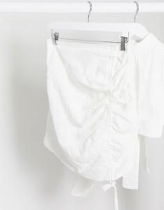 Белая мини-юбка от комплекта со сборками Rare London-Белый