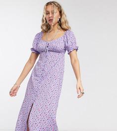 Чайное платье миди с мелким цветочным принтом Reclaimed Vintage inspired-Фиолетовый