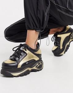 Черные кроссовки с золотистыми вставками на массивной подошве Buffalo-Мульти