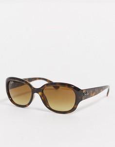 Солнцезащитные очки в круглой черепаховой оправе Ray Ban-Коричневый