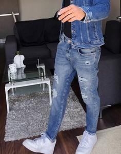 Синие джинсы скинни с рваной отделкой Bershka-Синий