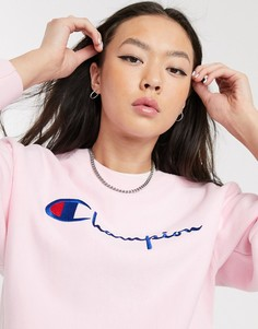 Свитшот с вышитым логотипом Champion-Розовый