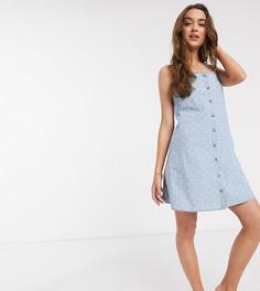 Голубое платье мини в горошек с квадратным вырезом Vero Moda Petite-Синий