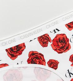 Трусы бикини с цветочным принтом Calvin Klein Plus Size CK One-Белый