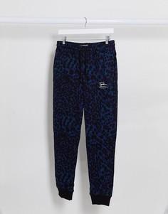 Темно-синие джоггеры с леопардовым принтом Topman-Мульти