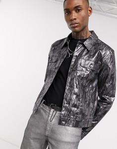 Курткасо змеиным принтом и эффектом металликASOS DESIGN-Черный