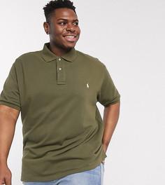 Оливково-зеленое поло из пике с логотипом Polo Ralph Lauren Big & Tall-Зеленый