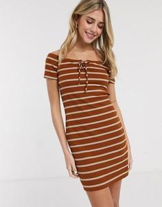 Светло-коричневое трикотажное платье в полоску с завязкой Brave Soul-Коричневый