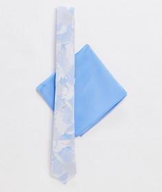 Набор из узкого галстука и платка для нагрудного кармана с цветочным принтом ASOS DESIGN-Синий