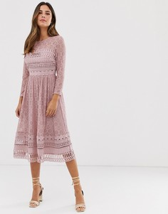 Бежевое кружевное приталенное платье миди ASOS DESIGN-Розовый