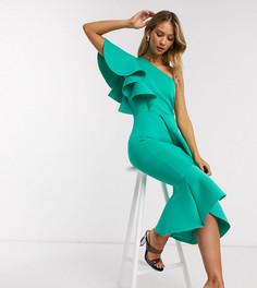 Эксклюзивное платье миди на одно плечо с оборкамиTrue Violet-Зеленый